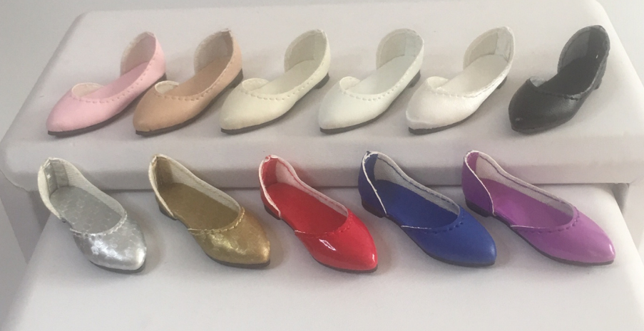 38mm Custom METALLIC GOLD Slip on Flats for Marley Wentworth Doll Shoes