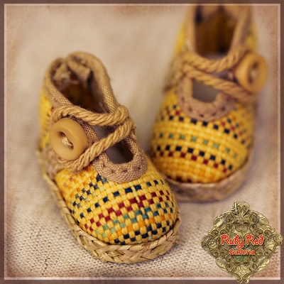 Yellow Fabric Shoes by Ruby Red