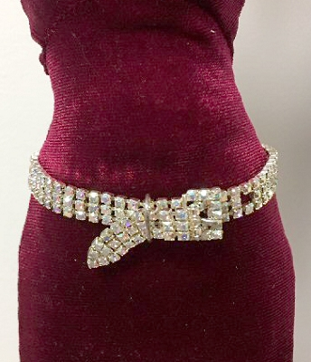 Rhinestone Buckle Belt (Long)