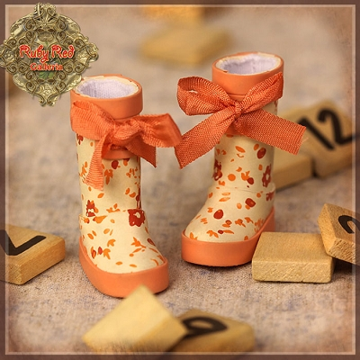 Orange Rain Boots by Ruby Red