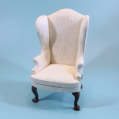 White Damask Armchair
