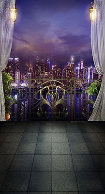 Balcony Night City (Photo Backdrop)