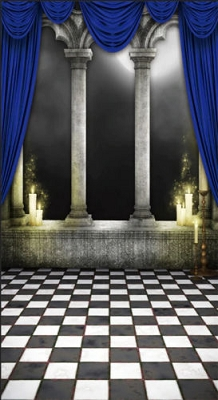 Columns with Blue Curtains (Photo Backdrop)