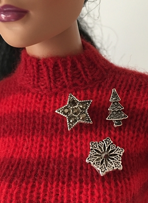 Christmas Brooch Trio - Antique Finish