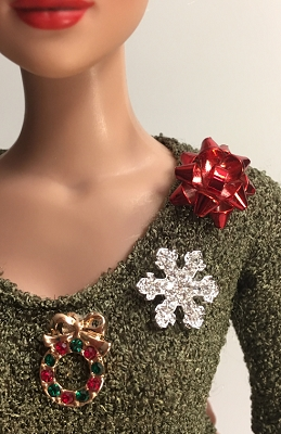 Christmas Brooch Trio